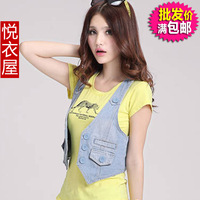 Clothing women's fashion short design denim vest brief sexy slim all-match vest coat denim vest women's vest women's jeans