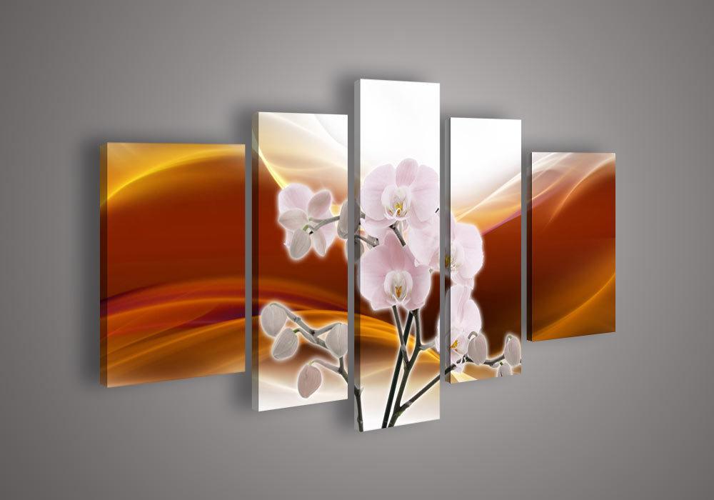 5 painel parede de acrílico flor painel artística abstrata moderna Red Orange Orchid a óleo sobre tela(China (Mainland))