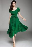 2014 new Korean version of Slim lady long chiffon dress irregular