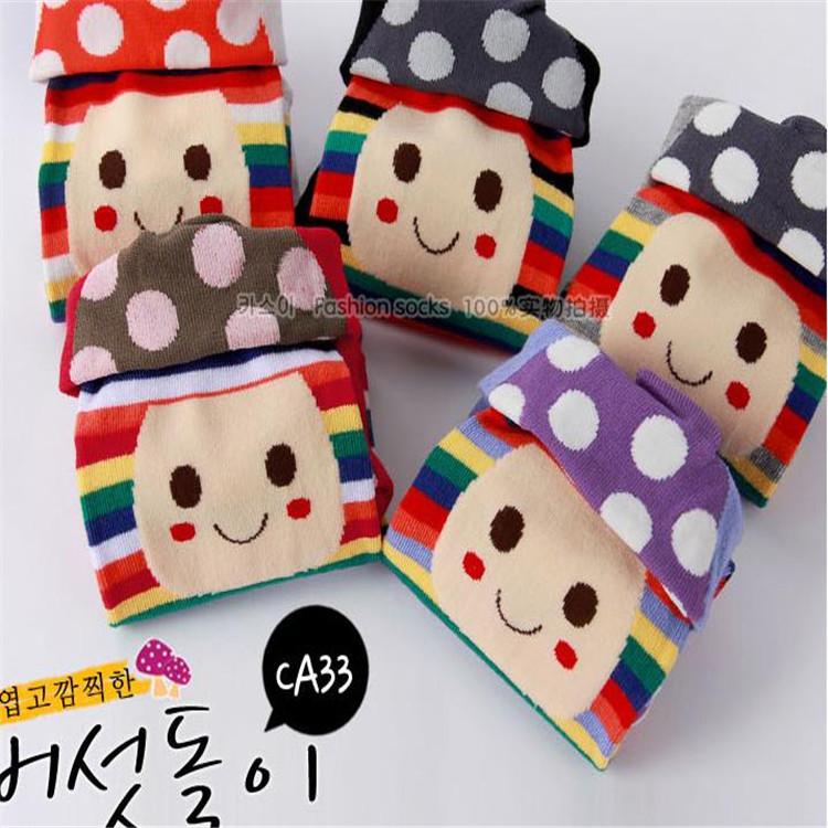 Корейский милый гриб head смайлик комикс носки хлопок носки женщины 12 pair/lot