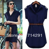 hot sale Fashion loose short-sleeve shirt skirt plus size slim chiffon one-piece dress free shipping