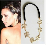 Free shipping~News fashion women   alloy gold leaf design  hairbands,  velvet ribbon headband ,hair band   6 pcs/lot