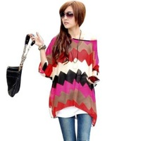 One Size Fits M-L Size Bohemian Hippie Big Size Batwing Sleeve Chiffon Blouse Loose Off Shoulder Shirt 013 Free shipping
