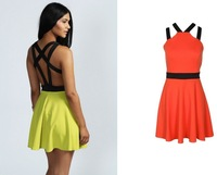 Free shiping  2014 Fashion love girl Contrast Strap Short Skater Dress  FT736