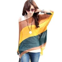 One Size Fits M-L Size Bohemian Hippie Big Size Batwing Sleeve Chiffon Blouse Loose Off Shoulder Shirt 003 Free shipping