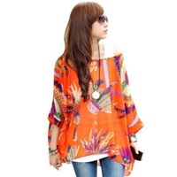 One Size Fits M-L Size Bohemian Hippie Big Size Batwing Sleeve Chiffon Blouse Loose Off Shoulder Shirt 012 Free shipping