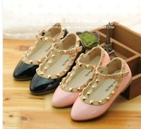 free ship fashion rivet hasp pure kids baby girls childre leather shoes fits 4-6 years PU shoes