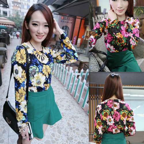 2014 spring female vintage national trend flower graphic patterns round neck T-shirt all-match top(China (Mainland))