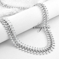 13mm New Fashion Jewelry Mens Womens 18K White Gold Filled Necklace Centipede Link Chain Gold Jewellery Free Shipping C04 WN