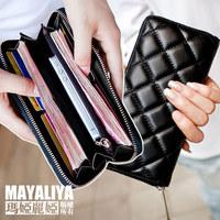 2014 genuine leather wallet female long zipper design women's sheepskin plaid wallet black day clutch