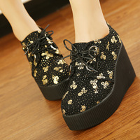 2014 new arrival fashion creepers platform shoes Gold and Silver Skull Flat Platform 35-39 free shipping