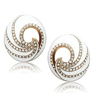 Ionic Plated Earrings Polished IP Rose Gold Vacuum New 2014 Women Pink Jewelry Oval White Epoxy Fine Trendy Design - VC Mart
