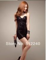 2014 Women's new sexy nightclub dress with spaghetti straps SEXY Bra straps sequins flash full dress
