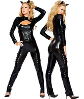 Hot Slae Faux Leather Cat Bodysuit Classic Sexy Lingerie High Fashion Leather Clubwear Hot Cat Costumes