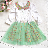 Children's clothing female child 2014 spring gentlewomen floral print dress tulle dress peter pan collar princess dress