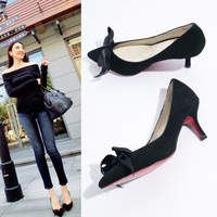 Hot sale 2014 fashion elegant silks and satins sexy pumps bowtie pointed toe women's shoes high-heeled single shoes