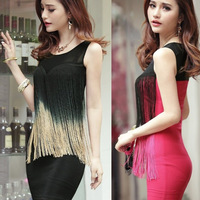 Fashion tassel sexy gauze slim hip meat dress one-piece dress summer women's sleeves party sexy nightcub dress  VZY044
