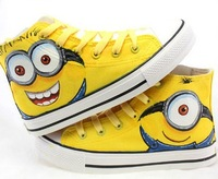 kids minion shoes cartoon despicable me 2 shoe minions children sneakers hand painted high shoes casual canvas women and men