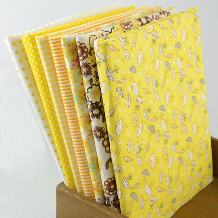 "50CMx50CM 7 Designs mixed ""Bright Yellow"" Cotton Fabric Fat Quaters Tilda cloth Quilting scrapbooking Patchwork Fabric W3B3-3(China (Mainland))"