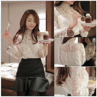 2014 Lissa  sexy lace long-sleeve shirt female top f60