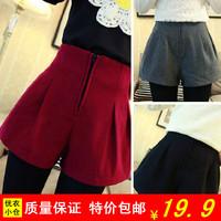 2014 autumn and winter shorts material all-match woolen high waist trousers hot summer sexy long