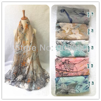 Beautiful Women Flower Blossom Scarves Chinese Printing Design Hijab shawl Romantic and Fashion Apparel Accessories