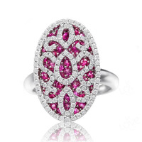 Ruby cutout ring 925 pure silver ring female fashion silver fashion the ruby ring finger exaggeration