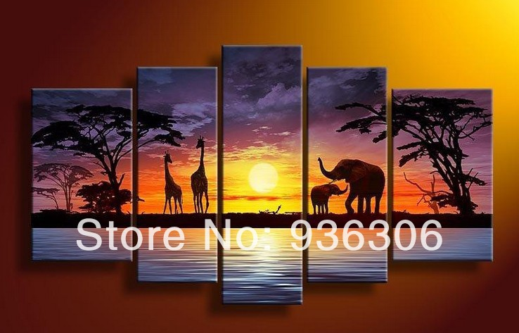 Oil Painting Handmade 5 Piece/set On Canvas Sunrise Wall Art Elephant Pictures For Living Room Decor Tree Seascape goods(China (Mainland))
