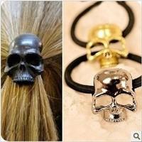 Creative 12pcs/lot DIY Vintga Cubic Hair Band Punk Hollow Skull Head Metal Hair Ring