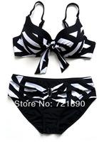 2014 New Fasion Super Plus Size Bikini Cup XS-6XL Stripe Swimsuit Push up sexy bikini