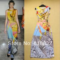 Free Shipping 2014 New Arrival Spring Summer European Fashion Runway Silk Blends Digital Printed Slim Fit Long Evening Dresses