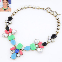 Min Order $10 2014 Europe Fashion Fluorescent Color Choker Necklace Bib Statement Collar Necklace