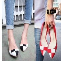 2014 black-and-white color block decoration thin heels single shoes pointed toe fashion genuine leather female leather th-d8