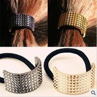 Nice 12pcs/lot DIY Vintga Cubic Hair Band Metallic Golden/Black Hair Rope Hair Jewelry