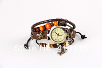 Leather bangle cute dolphin charms pendant gift watch jewelry watch Gift Free Shipping