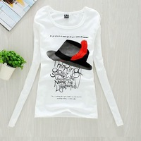 Slim print long-sleeve spring and summer women's full white basic shirt t-shirt cotton women's c24 o-neck t