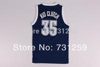 Kevin Durant Oklahoma blue # 35 nickname KID CLUTCH Basketball Jersey Fabrics   Free  Shipping