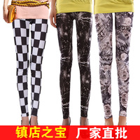 wholesale 100pcs Europe and America more than 150 styles spring graffiti leggings milk silk leggings via UPS/Fedex free shipping