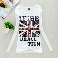 Flag t-shirt Women cotton basic shirt long-sleeve women's print o-neck casual t-shirt 2014 spring autumn new fashion cheaper hot