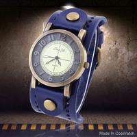 Unisex Bronze Vintage Watch Rivet Wide Leather Strap Dress Watch Analog Big Hours Hot Sale