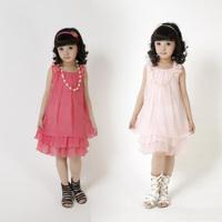 girls summer 2014 new chiffon bow vest dress princess dress Girls dress princess dress Free Shipping