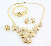 Free Shipping 2014 New Arrival 18K Gold Plated Wedding Jewelry Sets Fashion Classic Necklace Set For Women