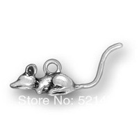 Wholesale Anti-silver Animal Simple Mouse Charms 184403 50pcs/lot