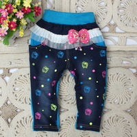 2014 spring new Korean baby girls pants children soft dot cotton jeans trousers A103
