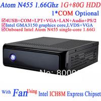 Micro Desktop PC with fan Intel Atom N455 processor single-core 1.66G COM LPT ICH8M Express Chipset 1G RAM 80G HDD Windows Linux