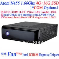 Mini PC IPC Mini ITX Case with fan Intel Atom N455 processor single-core 1.66G COM LPT ICH8M Express Chipset 4G RAM 16G SSD