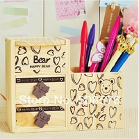 Korea style creative Hearts love bear wooden multifunctional pen holder with drawer fashion