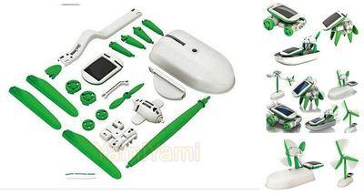 Solar Power 6 in 1 Toy Kit DIY Educational Robot Car Boat Dog Fan Plane Puppy(China (Mainland))