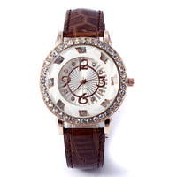 2014 New Female Personality Fashion Ladies Clothing Leather Watch Rhinestone Women Watch