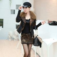 A . s2013 autumn and winter fashionable casual short jacket slim raccoon fur women's luxury wadded jacket